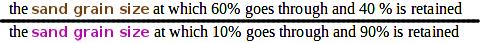 uniformity coefficient