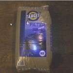 This is the coarse sand used:  .45 mm effective size. It took twelve 50 lb bags