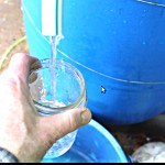 Water flowing through the filter on the first day of operation